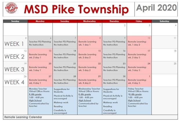 April Remote Learning Calendar